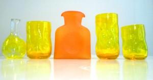 Orange and Yellow hand blown Blenko Glass