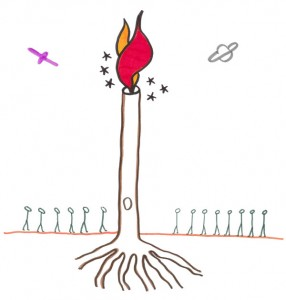 Daystar: humans, humanoids, space crafts and stars line up to see a flaming tree